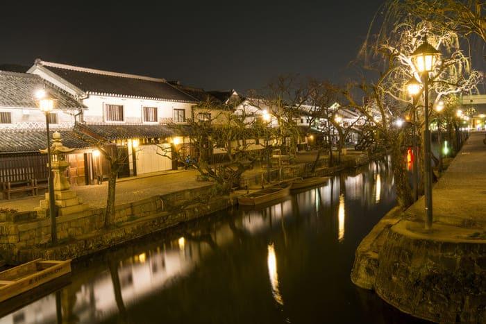 倉敷の美観地区夜景